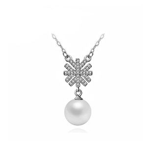 BELEC - 925 Sterling Silver Snowflake Necklace with White Fashion Pearl