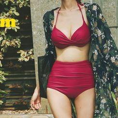 Salanghae - Leaf Print Cover-Up / Set: Halter Bikini Top + High Waist Bikini Bottom