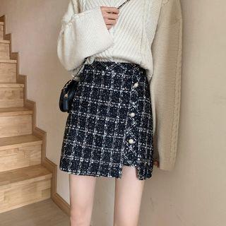 Luminato - Plaid Tweed Mini Pencil Skirt