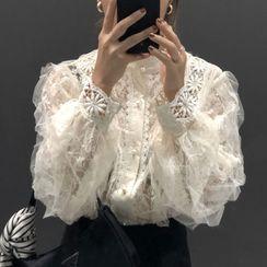 HWAJUN - 薄纱拼接蕾丝衬衫