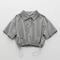 Tomato Shop - 纯色抽绳短款上衣