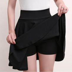 CHATNOIRE - A-Line Skirt with Inset Shorts