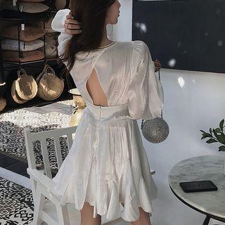Paila - Long-Sleeve V-Neck Open Back A-Line Dress