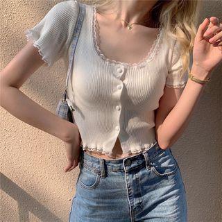 Magimomo - Lace Trim Short-Sleeve Cropped Cardigan