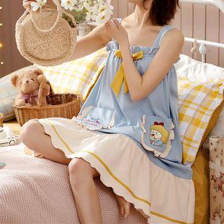Jeony - Suspender Cartoon Print Loungewear Dress