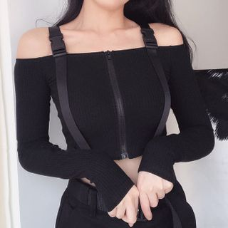 Thetis - Long-Sleeve Cold-Shoulder Crop Top