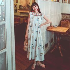 Leonnah - Sleeveless Floral Embroidered Midi A-Line Dress