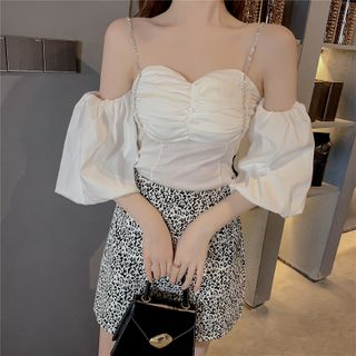 Oblione - Off-Shoulder Balloon-Sleeve Shirred Blouse
