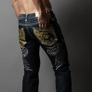 Green Banana - Stitched Embroidered Straight-Cut Jeans