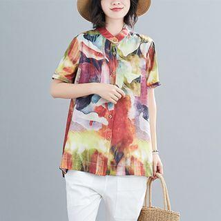 RAIN DEER - Tie-Dye Stand-Collar Short-Sleeve Shirt