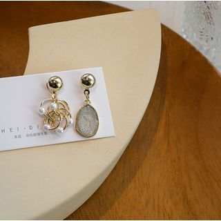 Seoul Young - Non-matching Resin & Alloy Hoop Dangle Earring