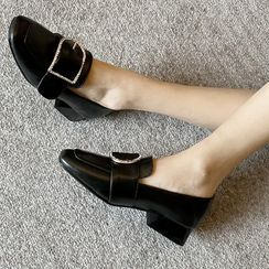 Pretty in Boots - Buckled Block-Heel Loafers