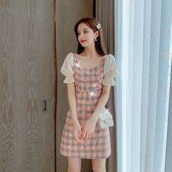 EFO - Mock Two-Piece Buttoned Check Dress