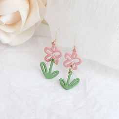 Jasminte - Cutout Flower Drop Hook Earrings