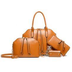 Mayanne - Set: Faux-Leather Handbag + Shoulder Bag + Long Wallet + Key Holder