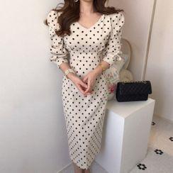 Ashlee - Long-Sleeve Dotted Midi Sheath Dress