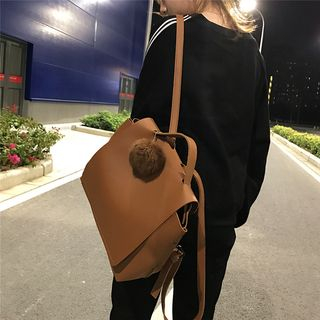 Minafox - Set: Faux Leather Backpack + Pouch