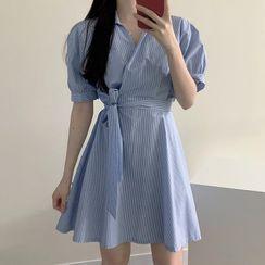 Leoom - 條紋短袖腰結帶迷你A字襯衫裙