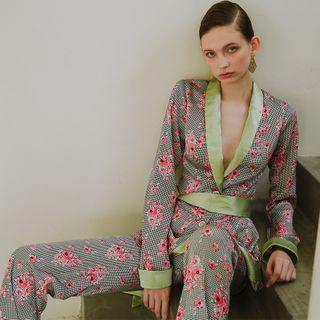 Sincethen - Floral Tie Waist Blazer / Dress Pants / Set