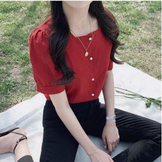 Leoom - Square Neck Short-Sleeve Top