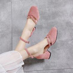 Shoes Galore - Block Heel Ankle Strap D'Orsay Pumps