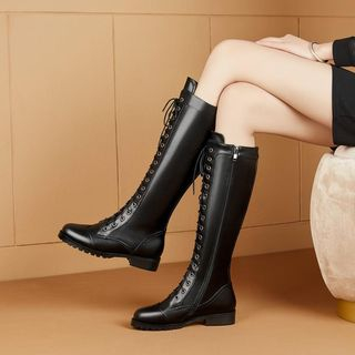JY Shoes Lace-Up Knee High Boots | YesStyle