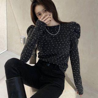 Berrytrix - 泡泡袖小高领圆点针织上衣