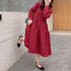 Empressa - Maternity Long-Sleeve Peter Pan Collar A-Line Dress
