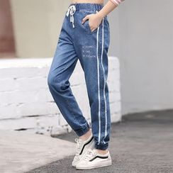 YICON - Drawstring Straight-Cut Jeans