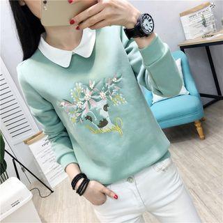 Kotoba - Mock Two-Piece Deer Embroidery Sweatshirt