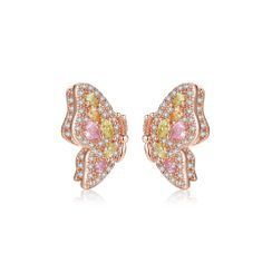 BELEC(ベレック) - Fashion and Elegant Plated Rose Gold Butterfly Stud Earrings with Colorful Cubic Zirconia