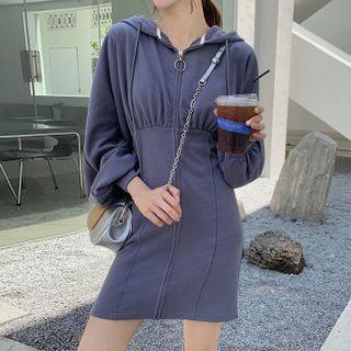 Ashlee - Plain Zip Mini Hoodie Dress