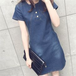 Minimince - Short-Sleeve Denim Shift Dress