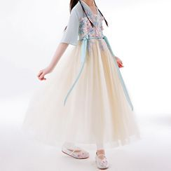 HELLO BABY - Kids Floral Embroidered Elbow-Sleeve Maxi A-Line Dress