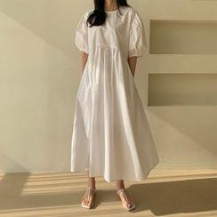 Seoul Fashion(ソウルファッション) - Puff-Sleeve Long Peasant Dress