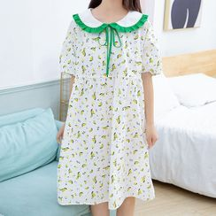 YICON - Short-Sleeve Fruit Print Pajama Dress