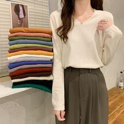 Closette - Long-Sleeve Plain Knit Top