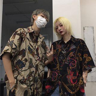 Banash - 情侣款印花中袖衬衫