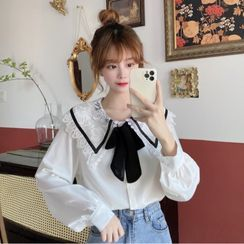 Honey Diary - Long-Sleeve Lace Collar Tie-Neck Blouse