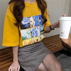 KAKAGA - Short-Sleeve Van Gogh Print T-Shirt