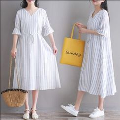 Fancy Show - Striped Elbow-Sleeve Midi A-line Dress