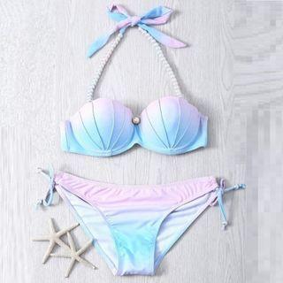 Salanghae - Beaded Strap Shell Gradient Bikini
