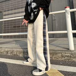 Shineon Studio - Plaid Panel Plain Straight Cut Pants