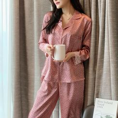 PinkRosa - Long-Sleeve Leopard Print Silk Pajama Set