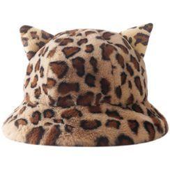 HARPY - 貓耳朵豹紋印花毛絨漁夫帽