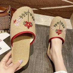 Weiya - 情侣刺绣居家凉鞋