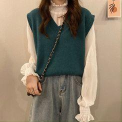 Magimomo - Mock-Neck Blouse / V-Neck Sweater Vest