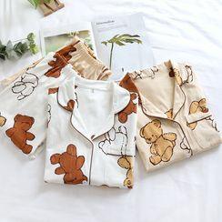 Dogini - Pajama Set: Bear Print Shirt + Lounge Pants