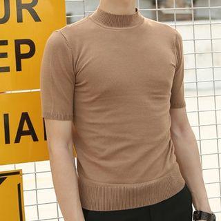 Orizzon - Mock Neck Short-Sleeve Knit Top