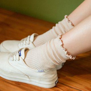 光影紀 - 皺摺邊針織襪子